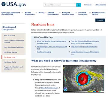 Screen shot of the website USA.gov